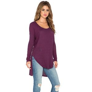 FREE PEOPLE Small  Ventura Boho Violet Thermal Tee
